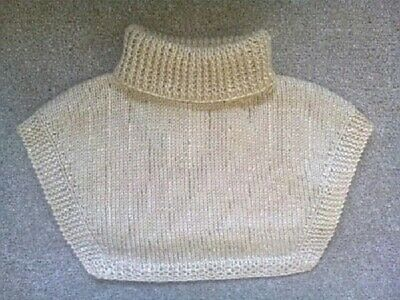 Polo Top Insert Neck Warmer - Cream - Hand Knitted - Golf / Sport / Skiing