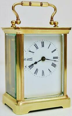 Antique French 8 Day Classic Timepiece Brass Carriage Clock Platform Escapement