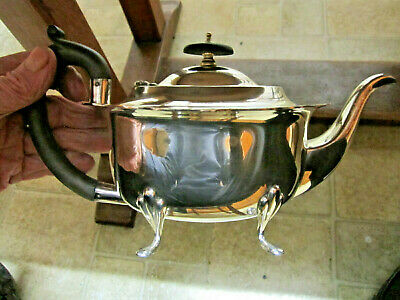Old Antique Art Deco Period Silver Plate Teapot 6 cup Ready to use English c1930