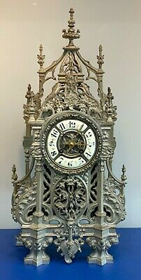 Antique 1860s Silvered Pierced Bronze Cathedral 8 Day Mantel Clock by A.D.Mougin