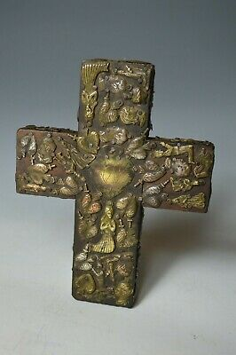 Good antique mexican folk art cross milagros ex voto
