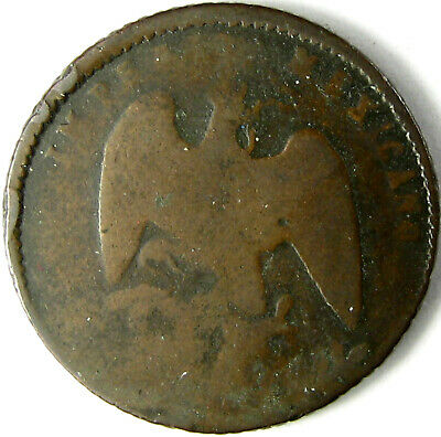 "1864-M  Mexico Centavo  Km# 384  G+  ""Empire of Maximillian""  One-Year Type"