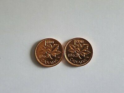 1963 Canada 1 Cent Penny BU / Uncirculated - From a Roll x 2