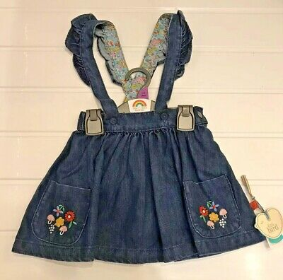 Little Bird by Jools Oliver Age 3-4 years Denim Braces Skirt New With Tag