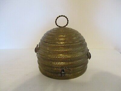 Vintage Brass Beehive Cookie Jar Adorned With Bees Mottahedeh Design   India