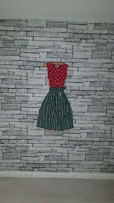 Age 4 5 6 Year Old VTG 70's Green Red Floral Print Retro Pinafore Peasant Dress