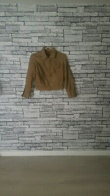 Age 12 13 14 Year Old VTG 1980's Retro Brown Tan Leopard Lined Zip Bomber Jacket