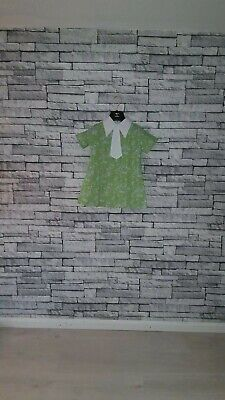 Age 4 - 5 Year Old VTG 70's Green Floral Print White Collar Tea Party Dress