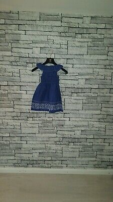 Age 4 - 5 Year Old VTG 1970's Dark Blue Retro Floral Print Ruffle Frill Dress