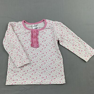 Girls size 0, Tiny Little Wonders, floral cotton long sleeve top, EUC