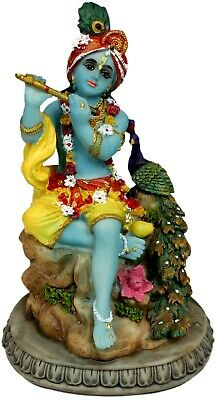 """Krishna Statue 6"""" Krishna with a Peacock playing His Flute  (A22)"""