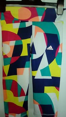 Bnwt Girls Adidas Climalite  Multi Coloured 3/4 Pants /Leggings Fantastic