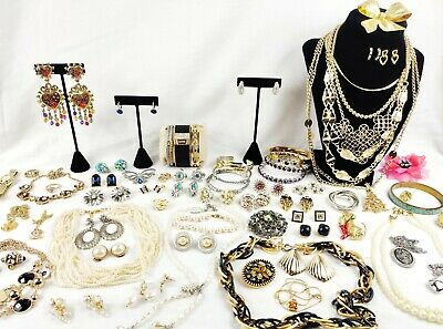 Huge Vintage Modern Jewelry Lot QUALITY Gold Silver Pearls Earrings Necklaces ++
