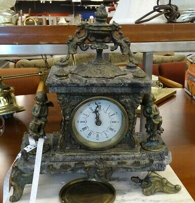 Antique Marble & Bronze Cherub Figures Mantel Clock see pics  RARE PIECE