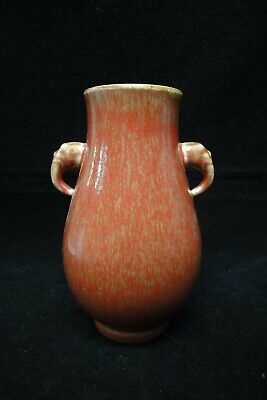 "Rare Old Chinese Coral Red and Yellow Glazes Porcelain Vase ""KangXi"" Mark"