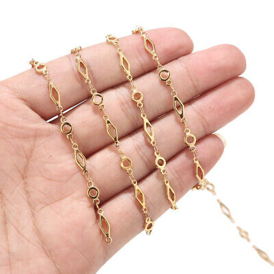 Gold Stainless Steel Jewelry Making Chains Rhombus Circle Connector Bar Chains