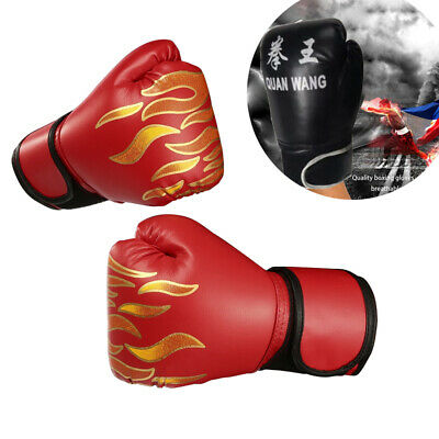 PU Leather Boxing Gloves MMA Muay Thai Training Sparring Flame Liner RED & BLACK