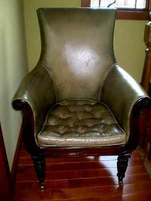 Early 19 Century Regency Period Leather - Carved Mahogany Library Chair C 1820