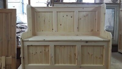 4ft 3 panel  monks bench church pew settle under seat storage