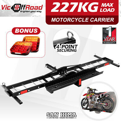 "SAN HIMA 2 Arms Motorcycle Carrier Motorbike Rack Dirt Ramp 2"" Towbar w/ Light"