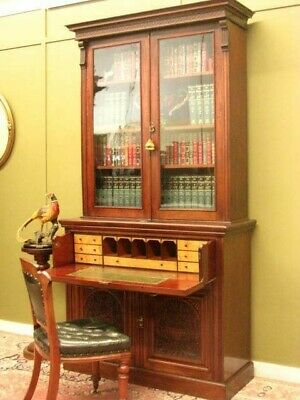 ANTIQUE MAHOGANY SECRETAIRE ~ FITTED DESK, STORAGE + DISPLAY BOOKSHELVES c1900s