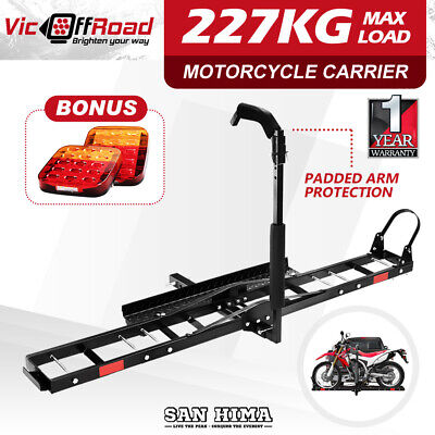 "Motorcycle Motorbike Carrier Rack 2"" Towbar Arm Rack Dirt Bike Ramp With Light"