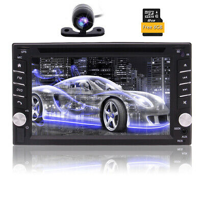 Camera&GPS Double 2Din Stereo Radio Car CD DVD Player Bluetooth +Map*