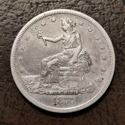 1877-S $1 Silver Trade Dollar In XF+ Condition