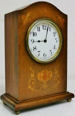 Antique 19thC French 8 Day Mahogany Inlaid Mantel Clock With Platform Escapement