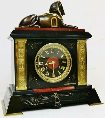 Antique French 8 Day Slate Red Marble Bronze Ormolu Egyptian Mounts Mantel Clock