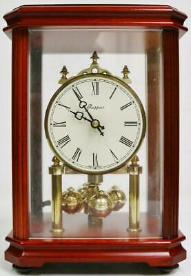 Vintage Modern Rapport 4 Glass Mahogany Quartz Anniversary Torsion Mantel Clock