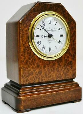 Quality Amboyna Chiselled Top Miniature Mantel Clock - Knight & Gibbins London