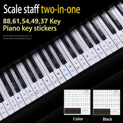 Colorful Music Keyboard Piano Stickers Fit 88 61 54 49 37 KEY Piano Removable UK