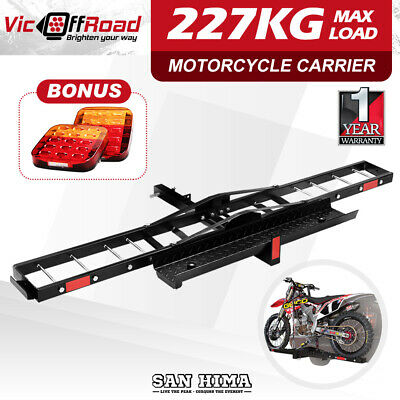 "SAN HIMA Motorcycle Motorbike Carrier Rack Dirt Bike Ramp 2"" Towbar Brake Lights"