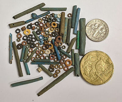 More than a hundred 2500 Year old Ancient Egyptian Faience Mummy Beads (#L2688)
