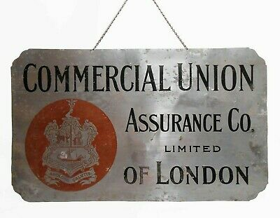 Commercial Union Assurance Co Ltd Of London Vint Painted Aluminum Hanging Sign