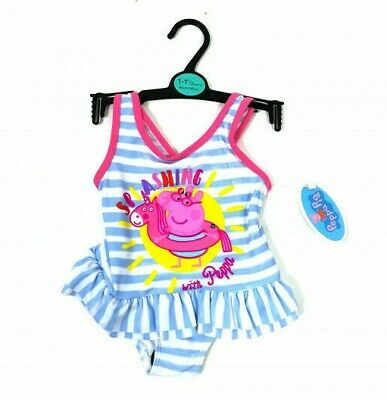 Peppa Pig Girls Stripe Frill Splashing Swimsuit Swimming Costume Age 2 3 4 5 6