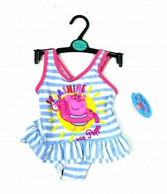 Peppa Pig Baby Girls Stripe Frill Splashing Swimsuit Swimming Costume  12 18 24