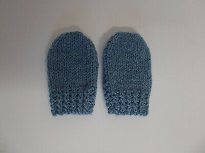 Hand Knitted Baby Mittens Newborn 0-3 Months Baby Boy Blue Denim Blue Shade