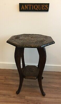 Antique Liberty & Co. Arts & Crafts Japanese Carved Occasional Table -Circa 1905