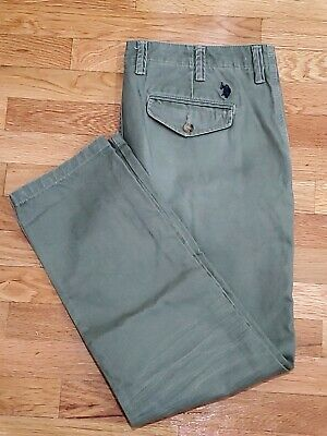 US POLO ASSN Army Green Chino Pants 38 30 Slim Skinny