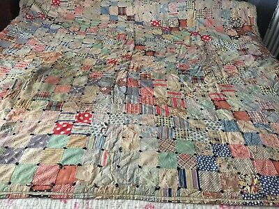 """Rare Antique 19Th C Canadian Patchwork Quilt Wool Blanket Fill 74"""" X 66"""""""