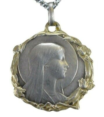 Art Nouveau French Sterling Silver Saint Joan of Arc Medal Pendant Necklace