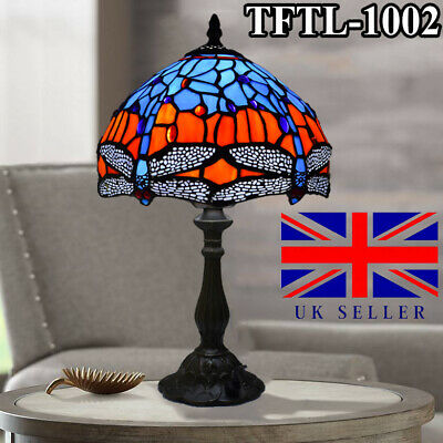 Antique Style TIFFANY Table Lamp Hand Crafted Multi Colour Stained Glass shade
