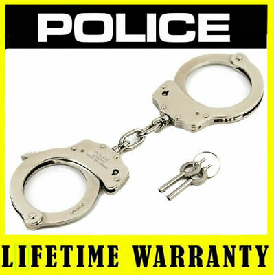 POLICE Handcuffs Professional Double Lock Heavy Duty Metal Steel - Silver