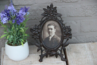 Antique 19th c Black forest wood carved picture photo  frame floral decor