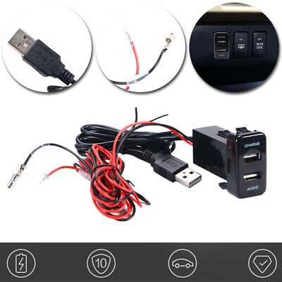 Car Charger Radio Stereo Dual Audio 2 USB Port Fits Toyota Vehicle smart phones