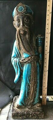 Antique Qing Dynasty Chinese Export  Glazed Earthenware Old Man Figurine