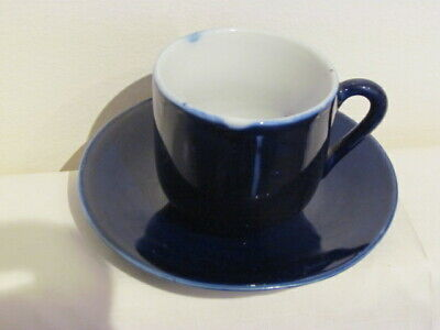 Vintage / Antique Porcelain Cobalt Blue tea coffee Cup & Saucer Marked Chinese?