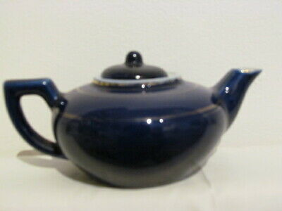 Vintage / Antique Porcelain Cobalt Blue Small Gilded Teapot Unmarked Chinese?